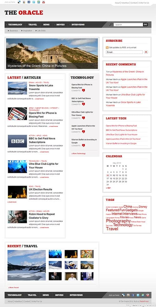 oracle wordpress theme