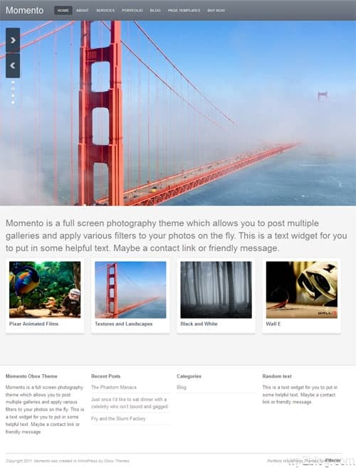Momento Photography WordPress theme