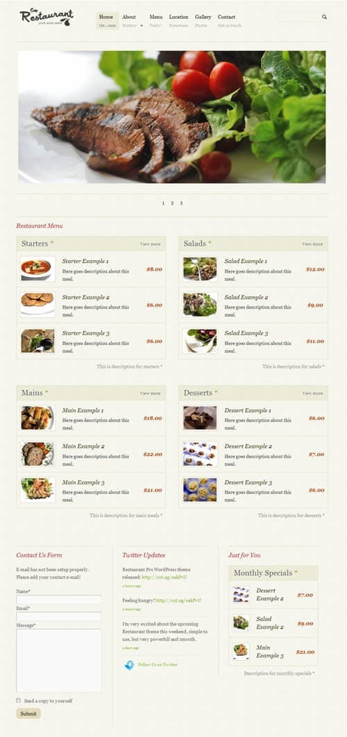 Restaurant Pro Premium WordPress Theme