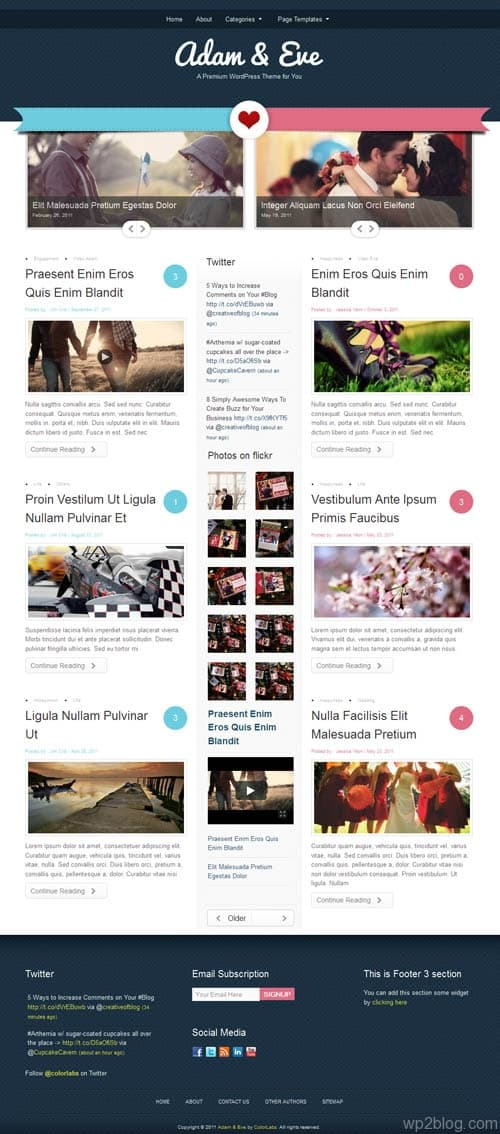 Couples Dual Author WordPress Theme