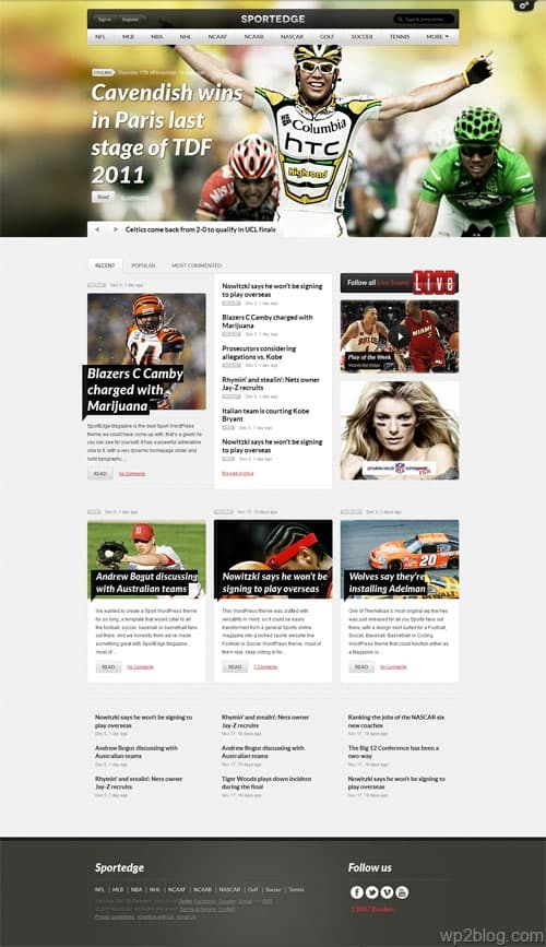 SportEdge Sport Magazine WordPress Theme