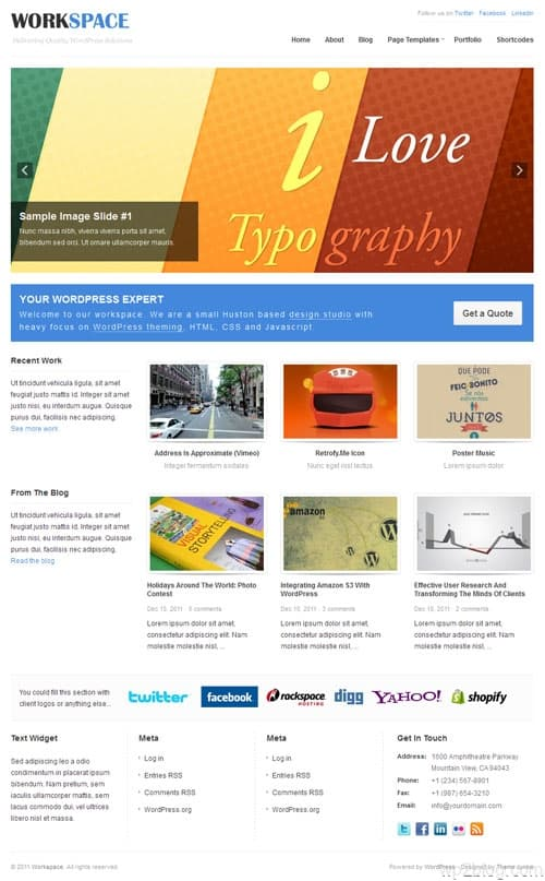 Work Space Premium WordPress Theme