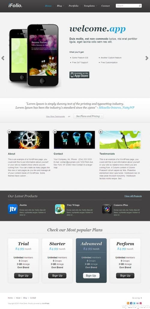 iFolio WordPress Theme