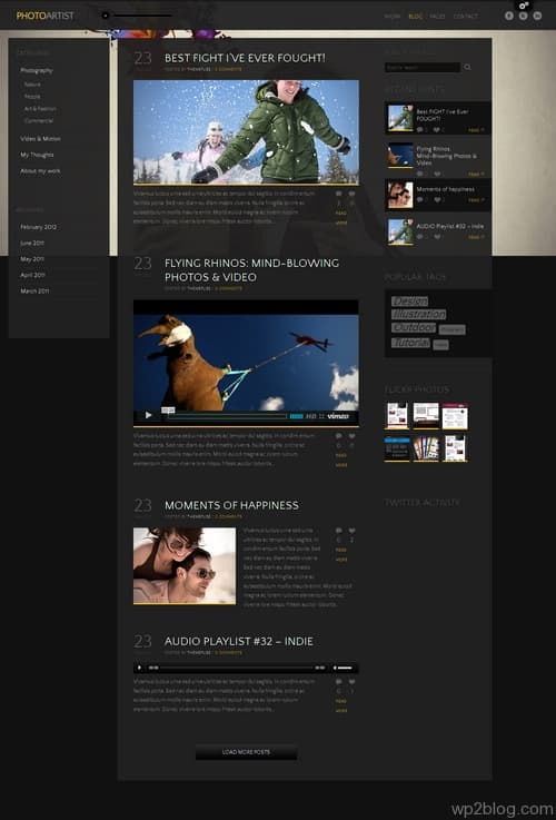 PhotoArtist Theme Blog Layout