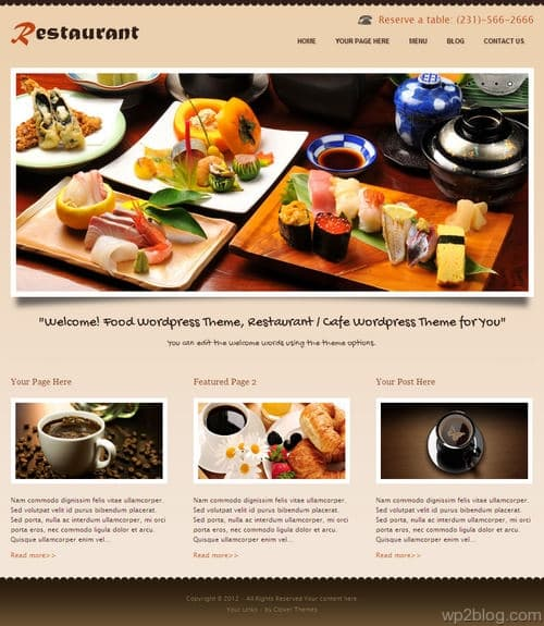 CoRestaurant WordPress Theme