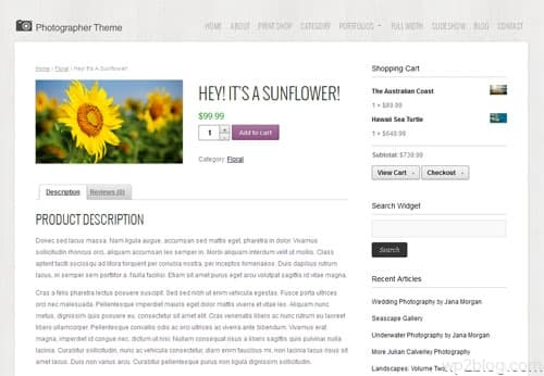 Photographer Theme Shop Template