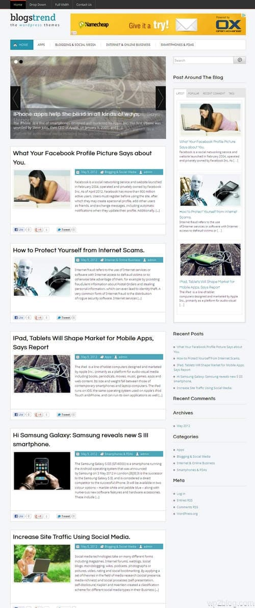 BlogsTrend WordPress Theme