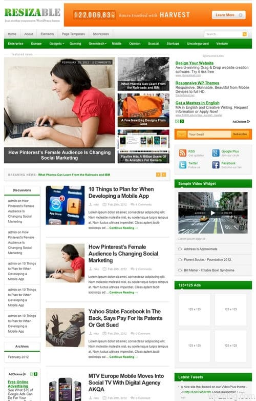 Resizable WordPress Theme