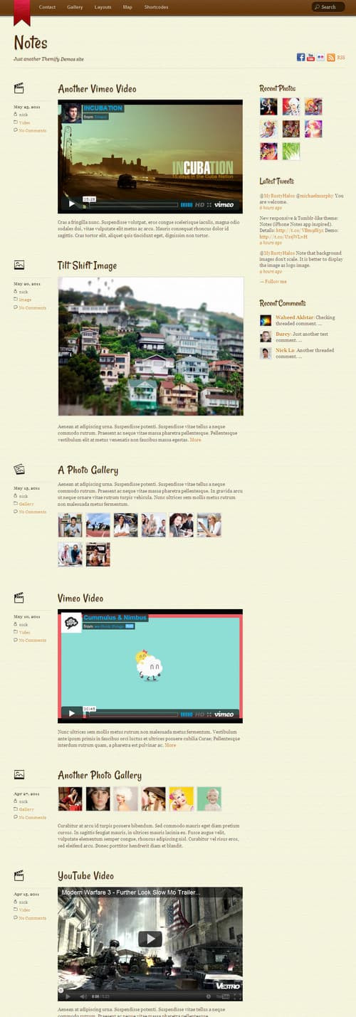 Notes WordPress Theme
