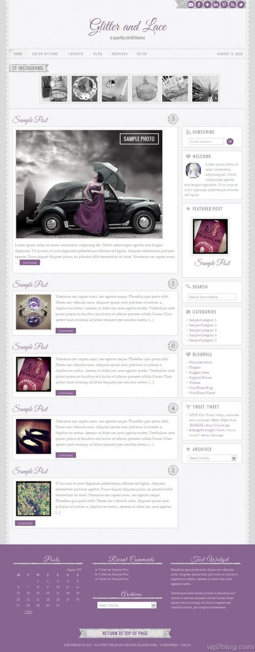 Glitter and Lace 1.0 WordPress Theme