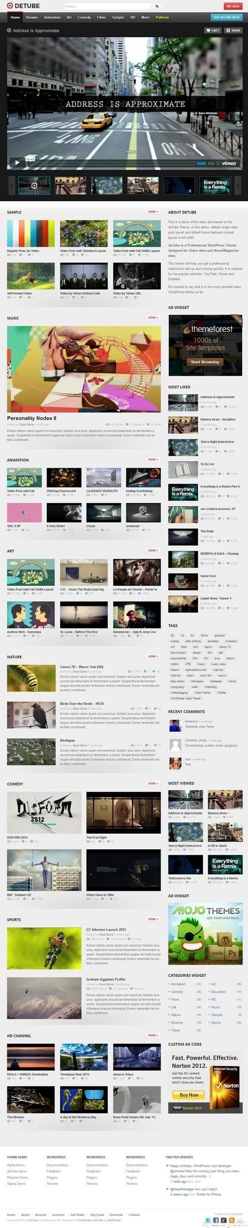 deTube WordPress Theme