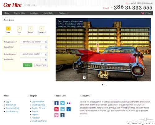 Car Hire WordPress Theme