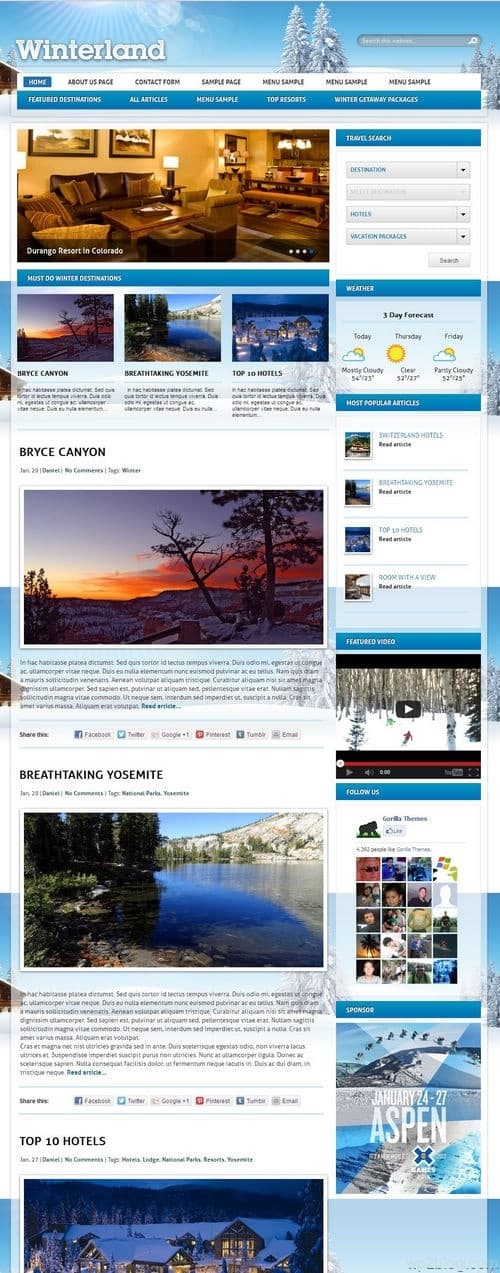 Winterland WordPress Theme