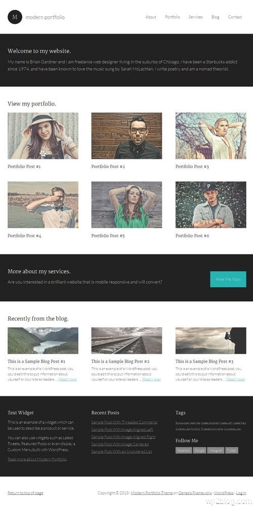 Modern Portfolio WordPress Theme