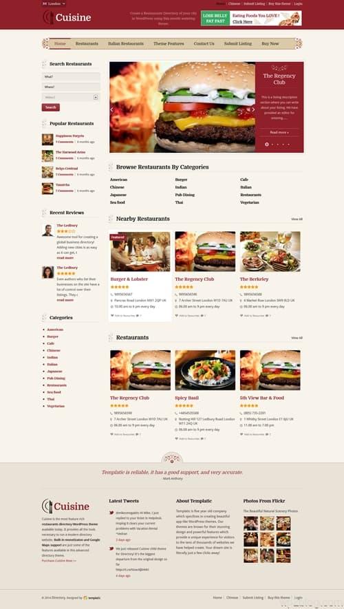 Templatic Cuisine Theme