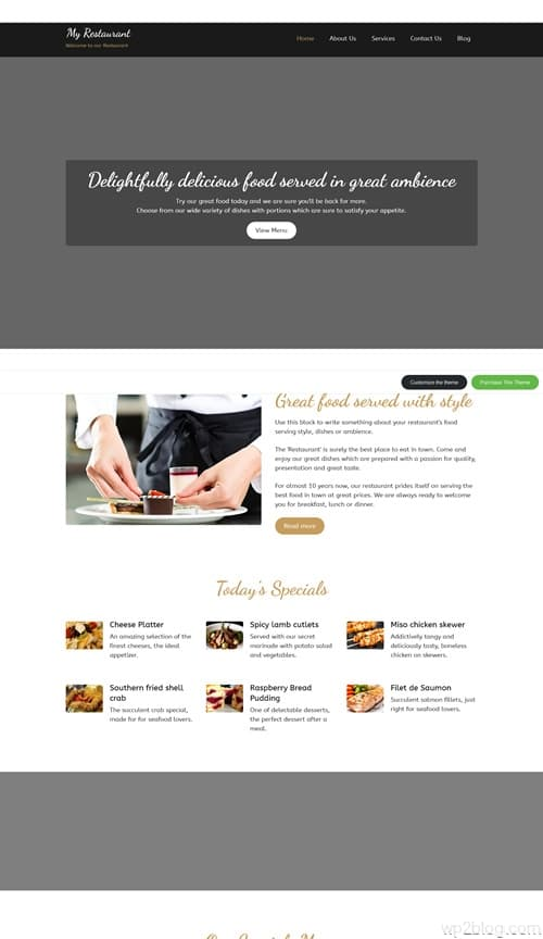MyRestaurant WordPress Theme