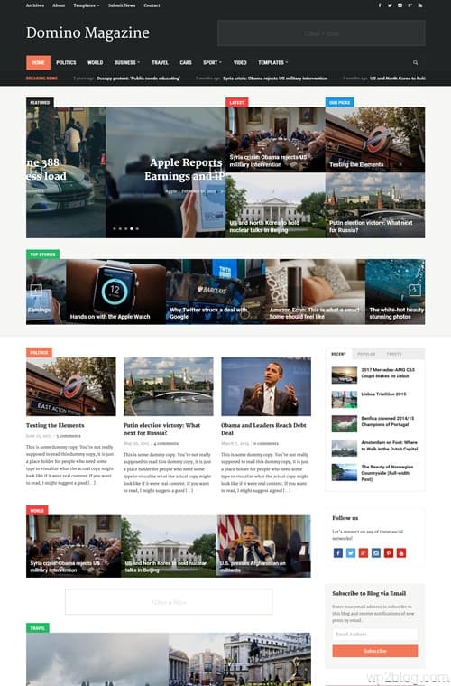 Domino magazine WordPress Theme