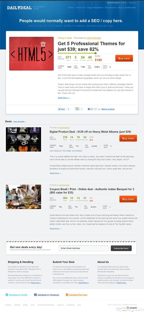Daily Deals WordPress Theme