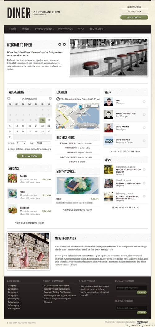 Diner Restaurant WordPress Theme