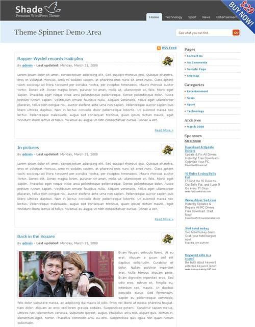 Shade WordPress theme