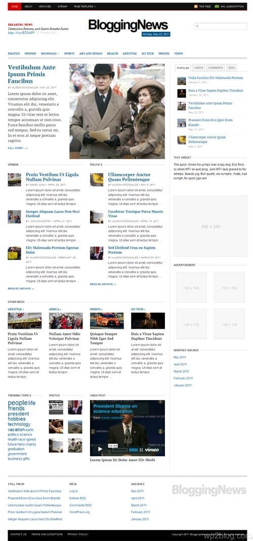 Blogging News WordPress Theme