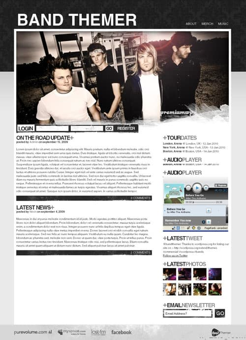 band wordpress theme