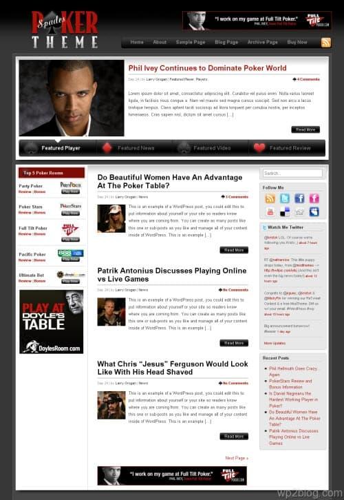 Spades Poker WordPress Theme