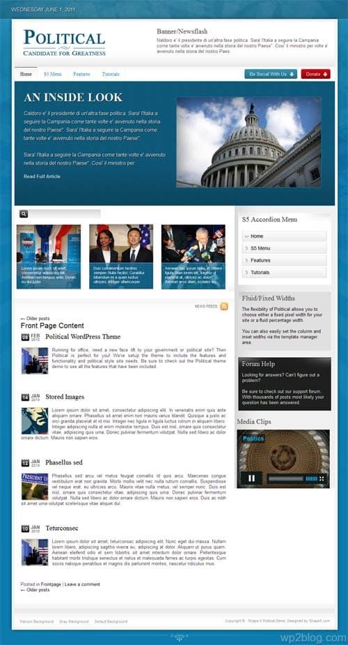 Political Premium WordPress Theme