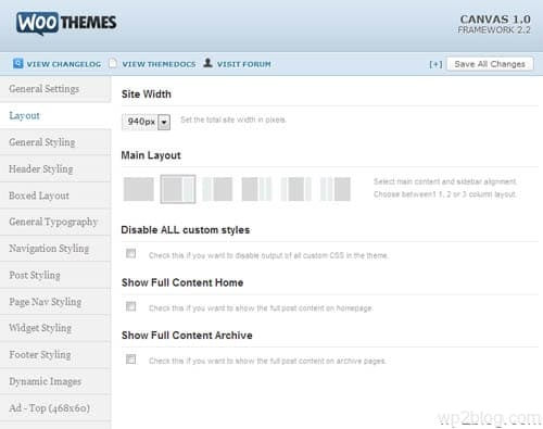 canvas layout options