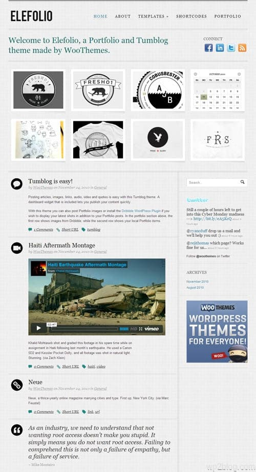 Elefolio Micro-blogging WordPress Theme