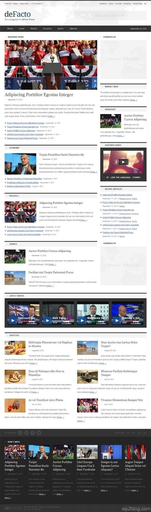 DeFacto News Magazine WordPress Theme