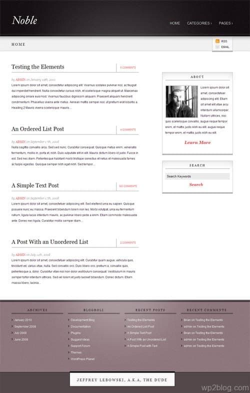noble wordpress theme