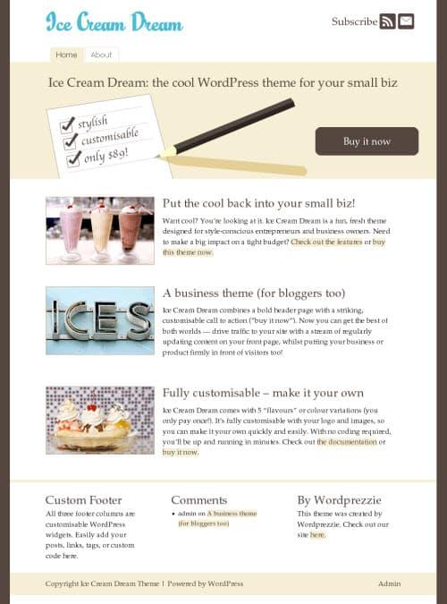 Ice Cream Dream WordPress Theme
