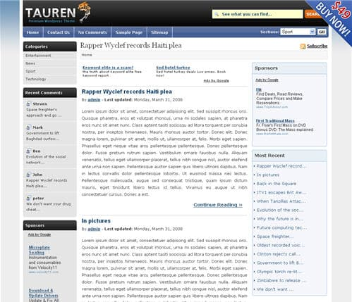 Tauren WordPress Theme