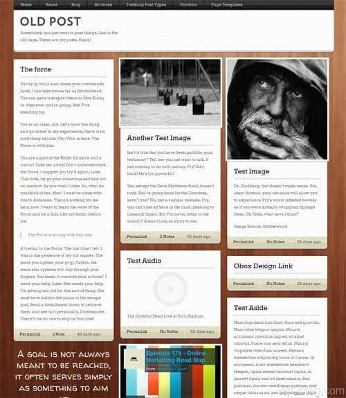 Old Post WordPress Tumblog Theme