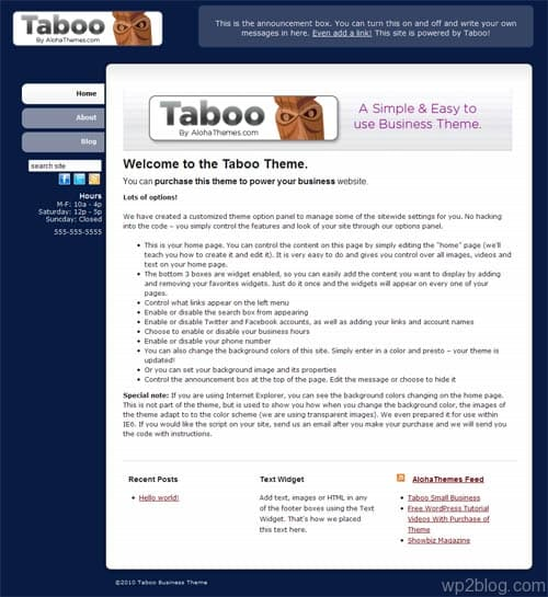 Taboo Business Premium WordPress Theme