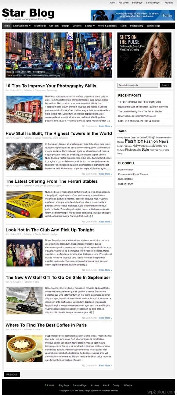 star blog wordpress theme