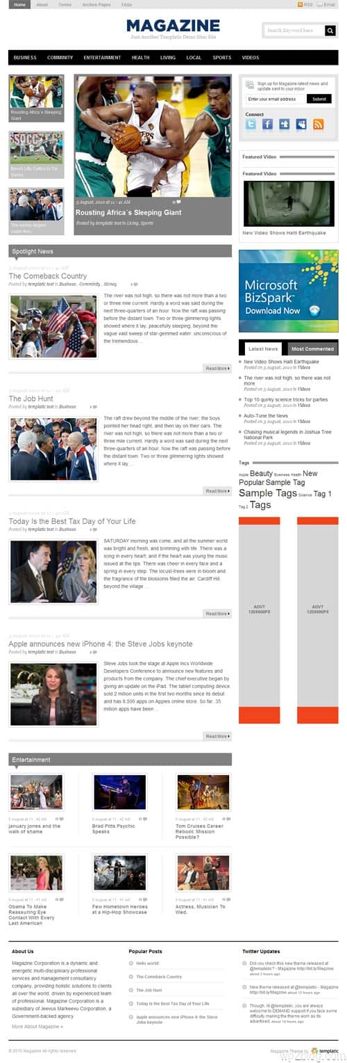 Templatic Magazine Premium WordPress Theme