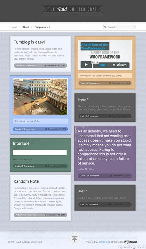 Auld Micro Blog WordPress Premium Theme