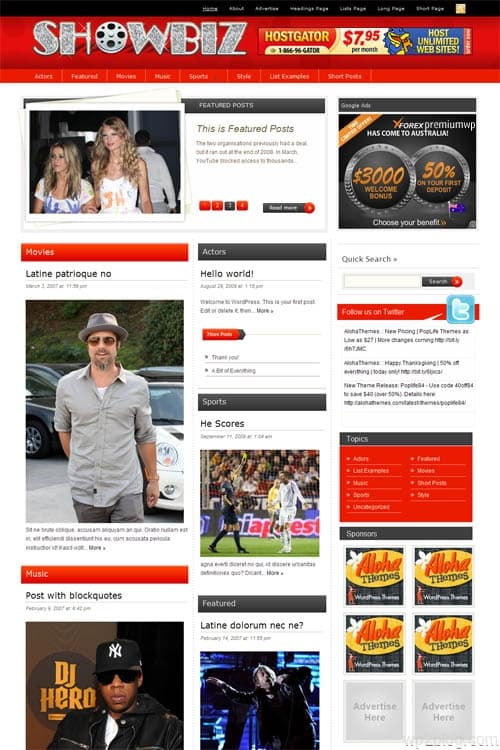 showbiz wordpress theme