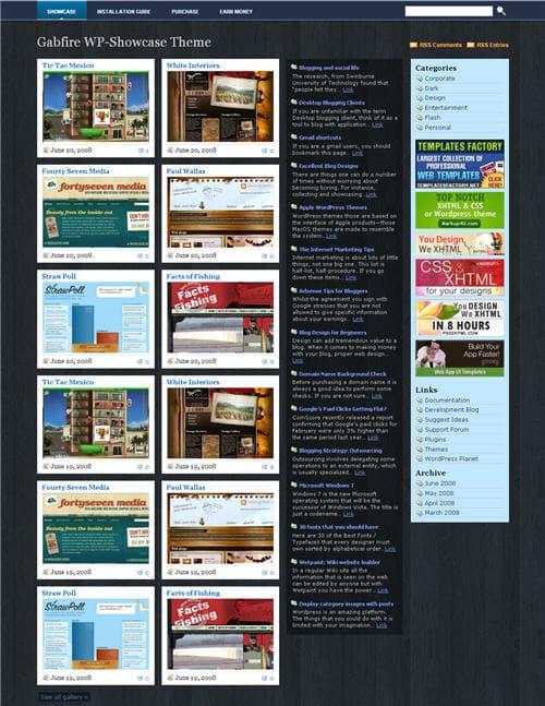 Gabfire WP Showcase wordpress theme