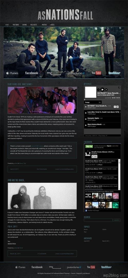 Dark Gritty Band WordPress Theme