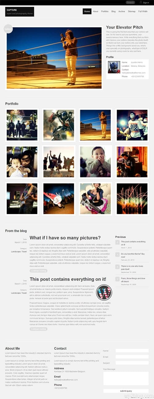 Capture Photography WordPress Theme