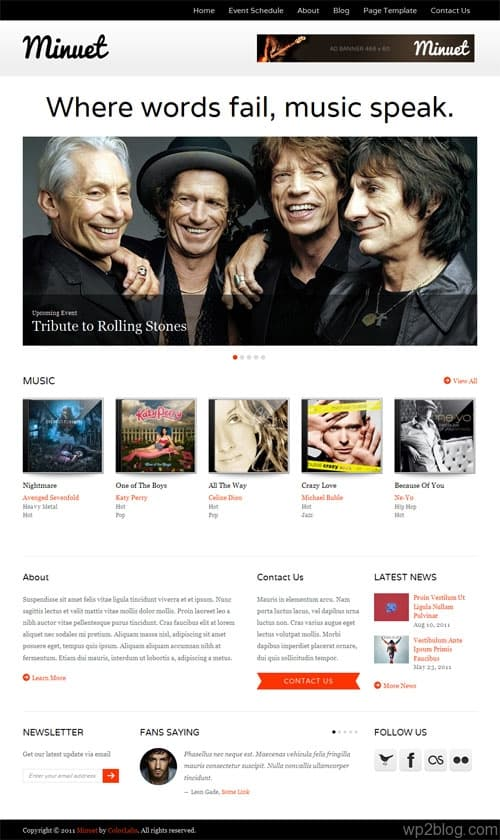 Minuet Music Business WordPress Theme