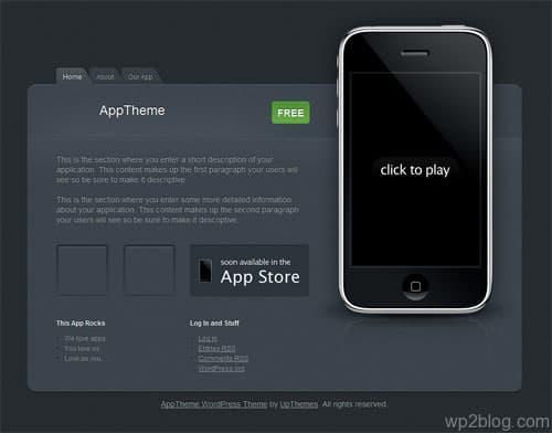 iphone app wordpress theme