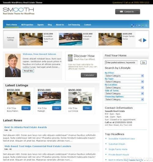 smooth real estate wordpress theme
