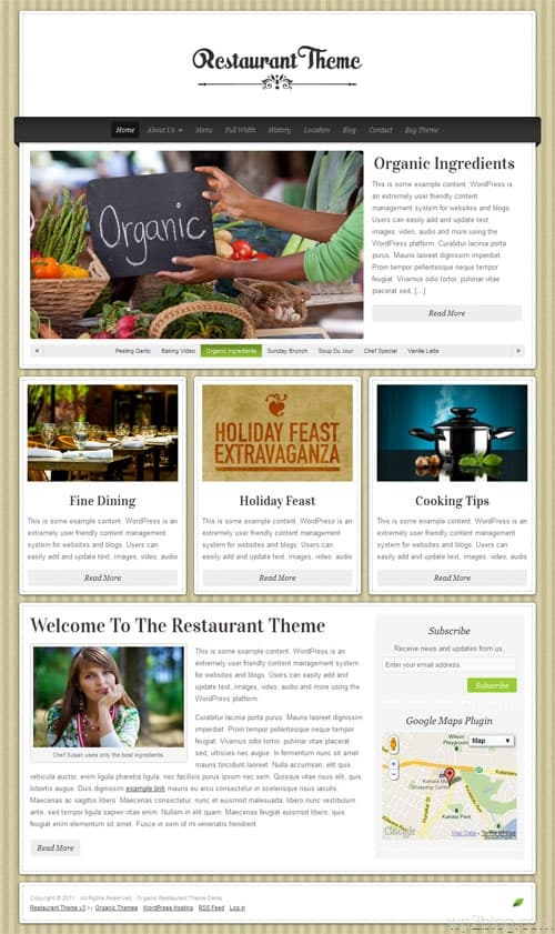 Organic Restaurant WordPress Theme