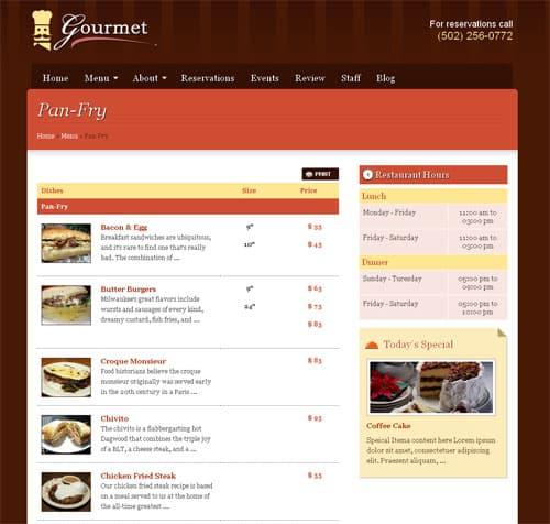 wordpress menu page template