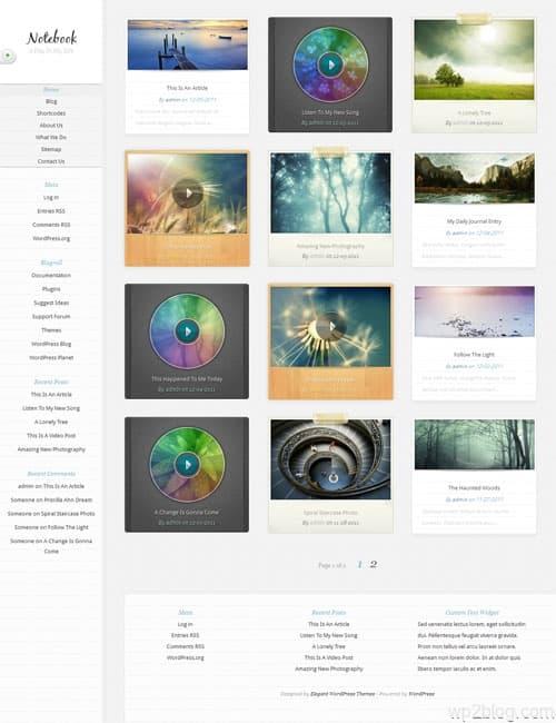 Notebook WordPress Theme