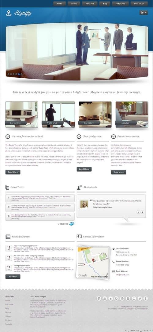 Biznify WordPress Theme